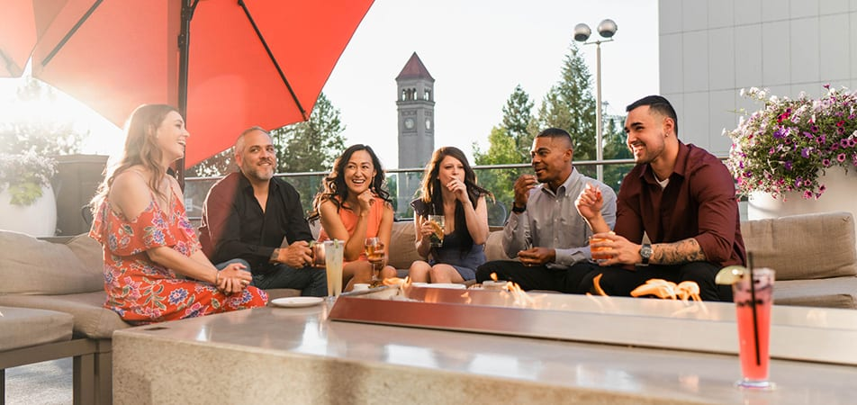 Davenport Grand | Grand Terrace Bar | Group of people having drinks