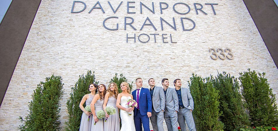 Davenport Grand | Wedding party in front of Hotel