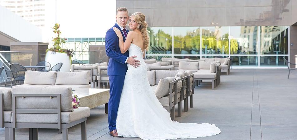 Davenport Grand | Bride and Groom on Terrace