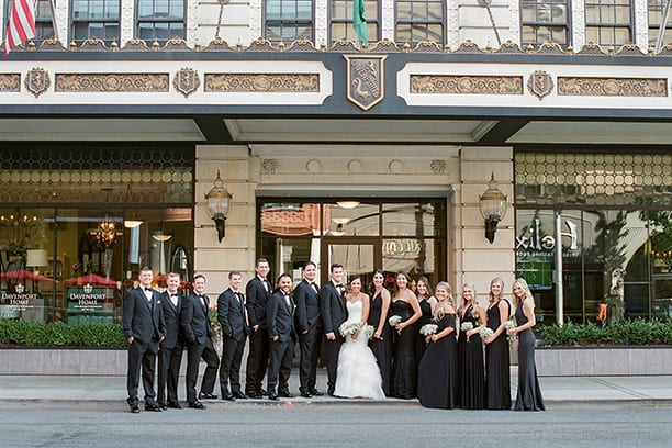 Wedding Party in front of Hotel