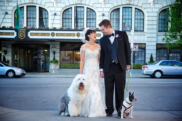 Bride and Groom Kissing in front of Hotel with dogs