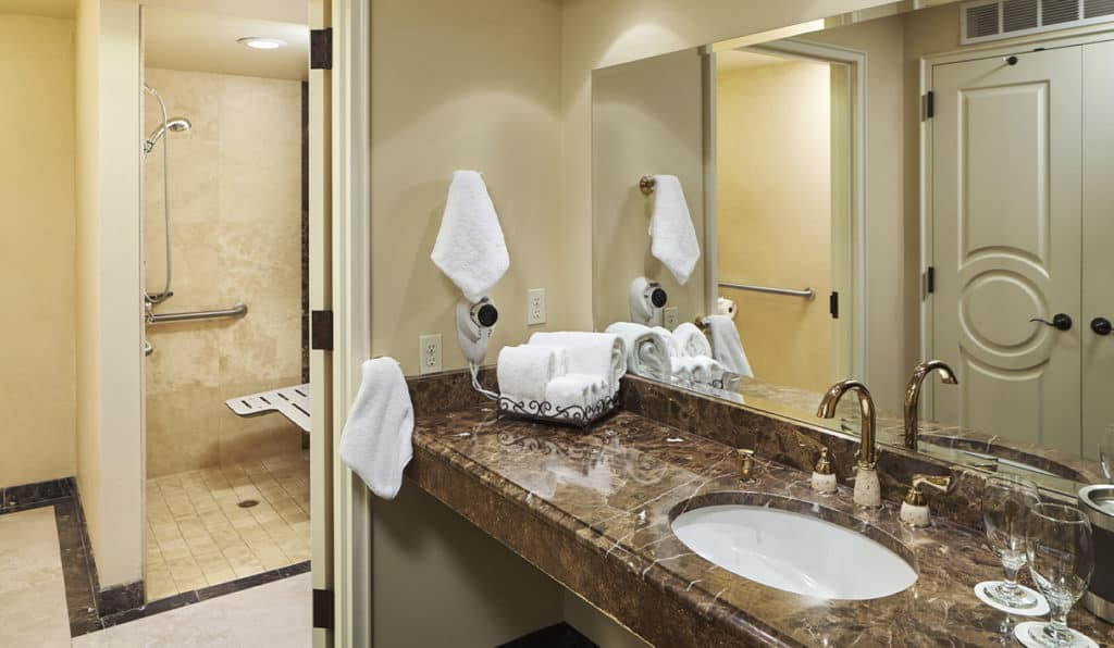 Superior Room Bathroom shower and sink | Historic Davenport
