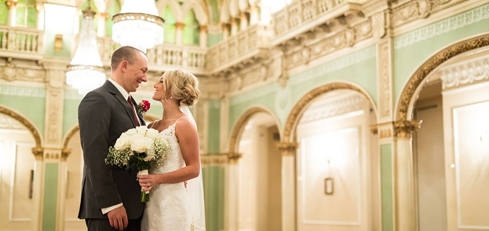 Hall of Doges | Historic Davenport | Bride and Groom