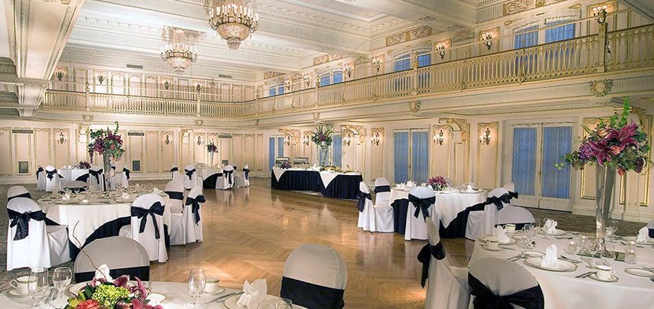 Marie Antoinette Event Hall | Historic Davenport | Black and white Decor