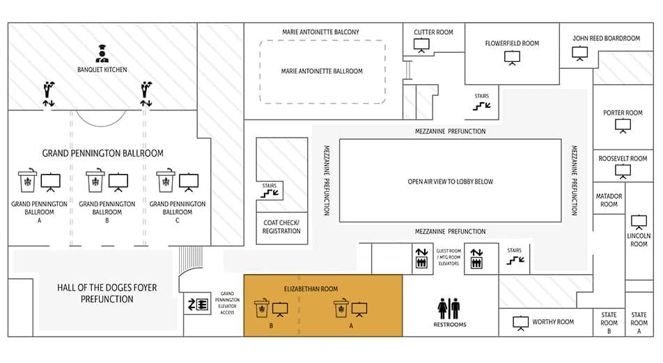 Elizabethan Event Hall floor plan   Historic Davenport