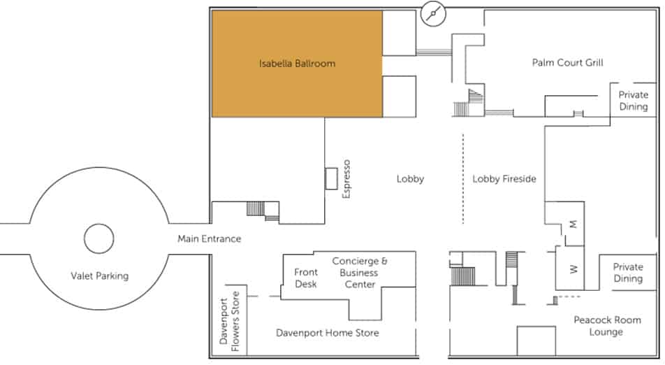 Isabella Event/Wedding Hall floor plan | Historic Davenport