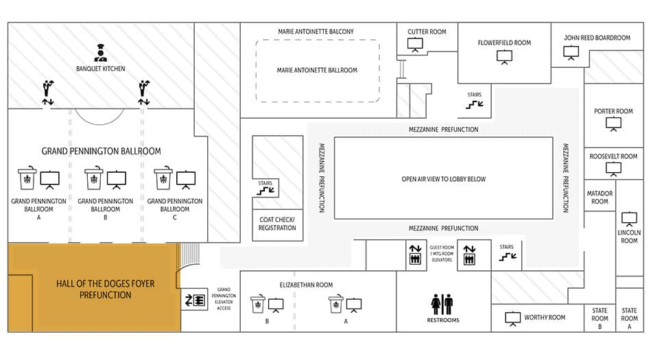 Hall of Doges floor plan | Historic Davenport
