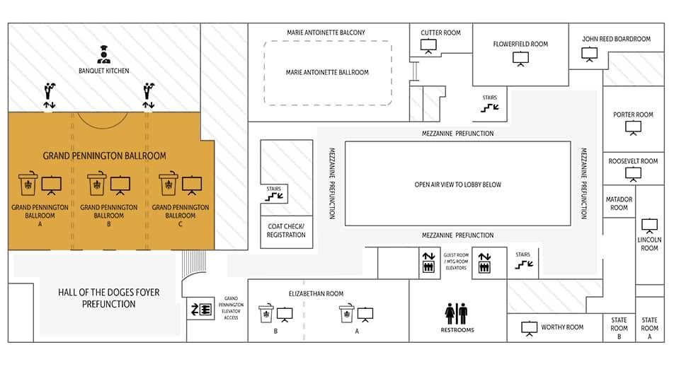 Pennington Ballroom floor plan | Historic Davenport