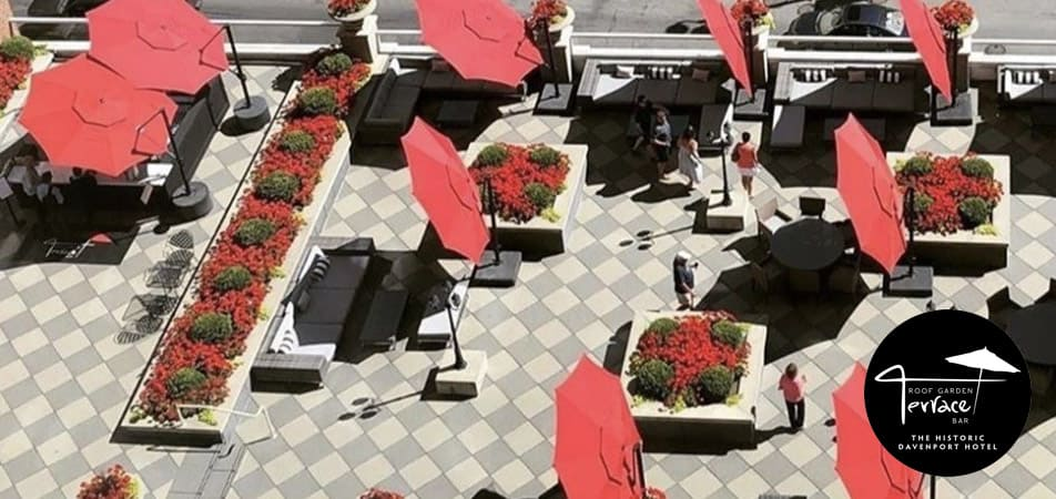 The Roof Garden Terrace Bar | Umbrellas | Historic Davenport