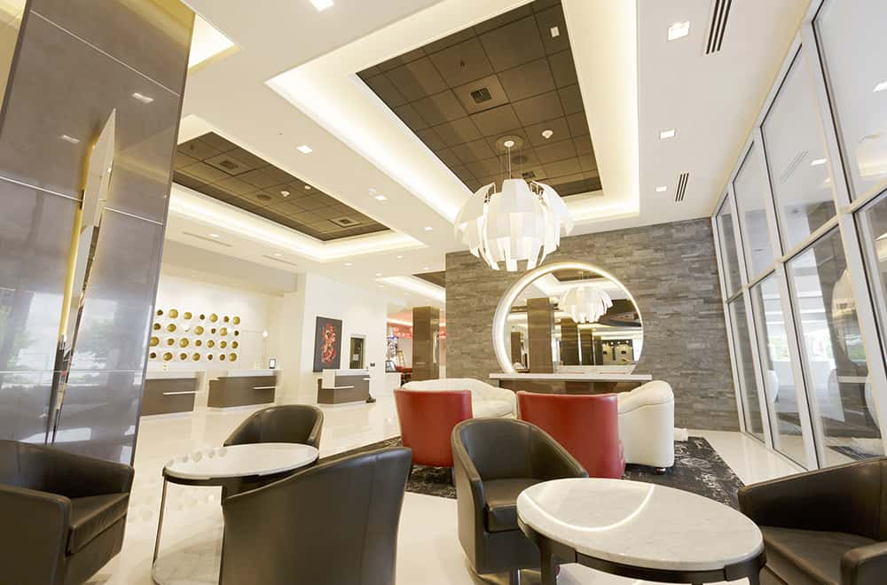 Lobby with chairs | Davenport Grand