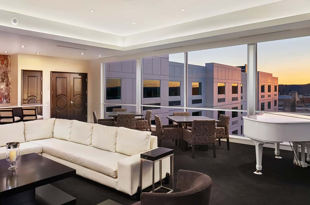 Living Room and Piano | Presidential Suite | Davenport Grand