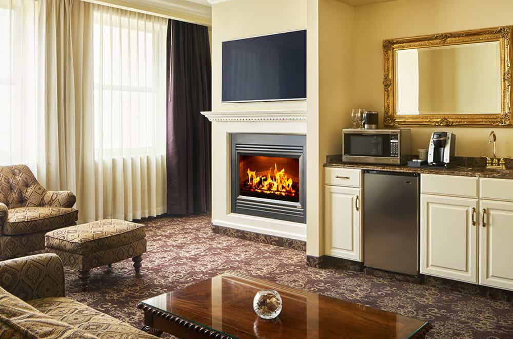Kitchen Area and Fireplace | Rooms | Historic Davenport