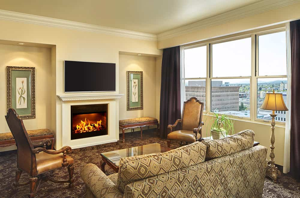 Couch and Fireplace | Rooms | Historic Davenport