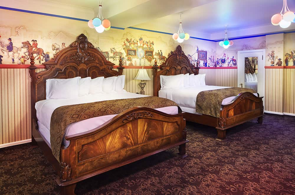Two Queen Beds with Colored Lights | Rooms | Historic Davenport