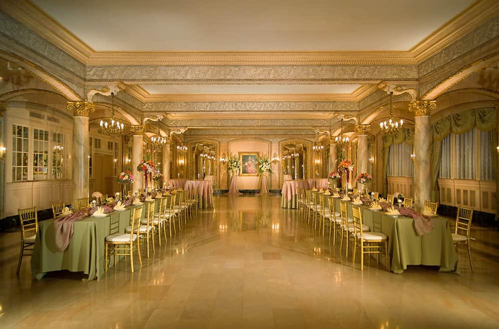 Meeting Ballroom | Long Tables | Historic Davenport Ballroom