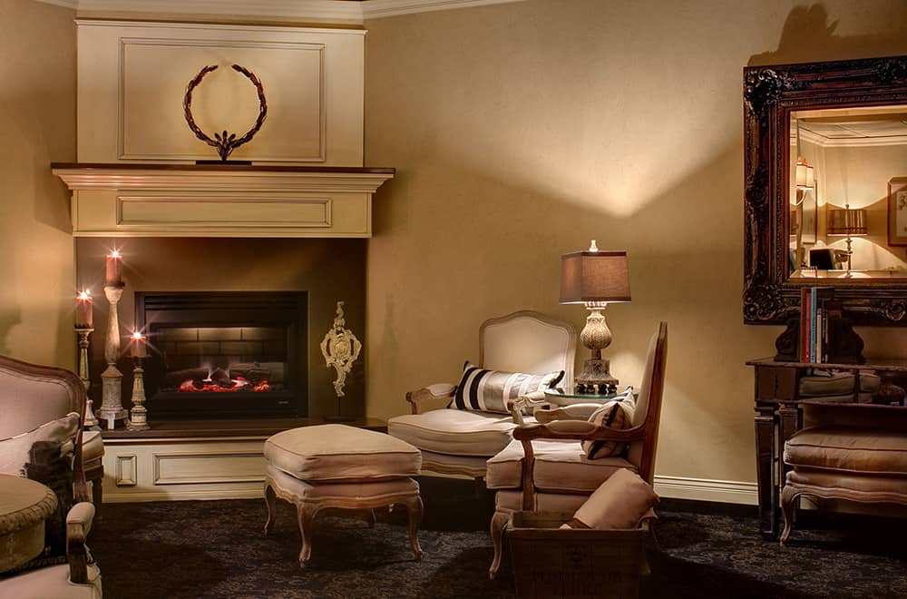 Waiting room at Spa | Fireplace and chairs | Historic Davenport