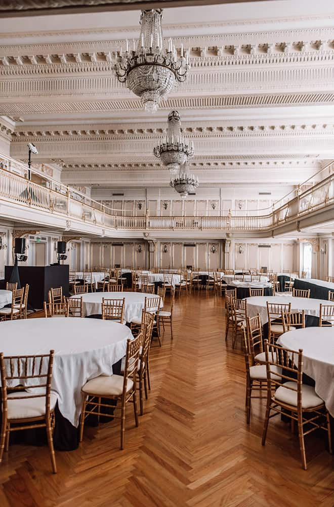 Reception Area with Tables | Weddings | Historic