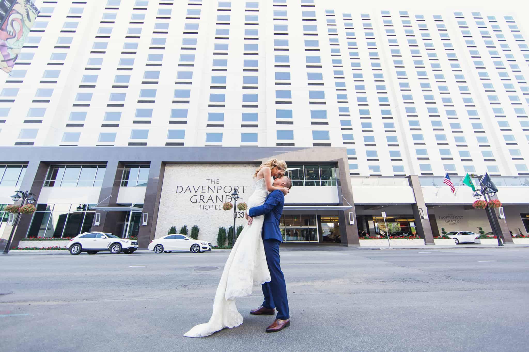 Davenport Grand Outside Wedding Couple