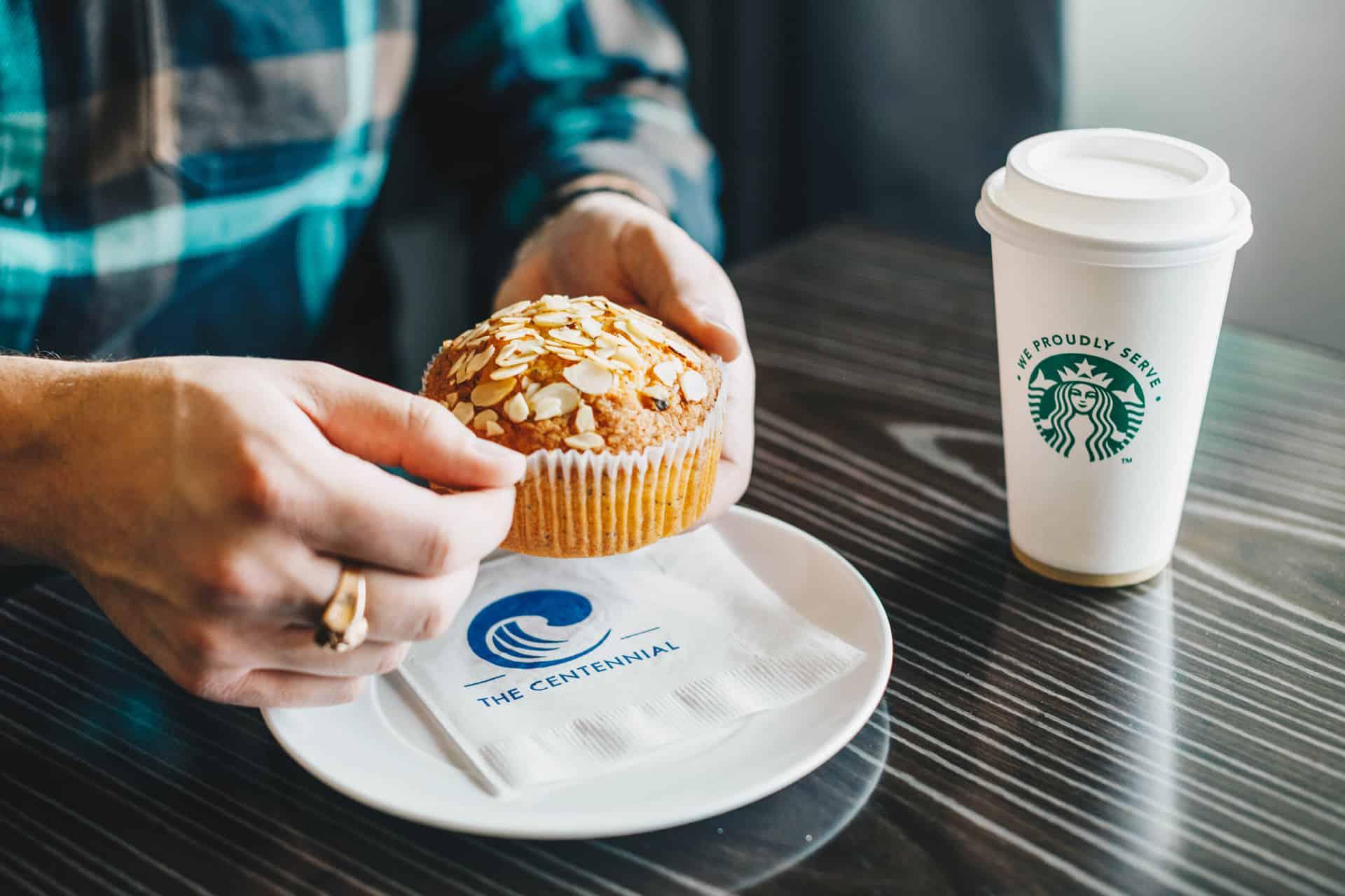 Starbucks coffee and muffin | Davenport Centennial