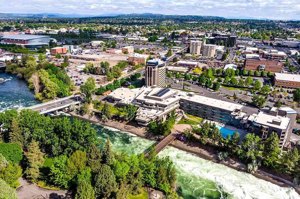 Birds eye view of city | Davenport Centennial