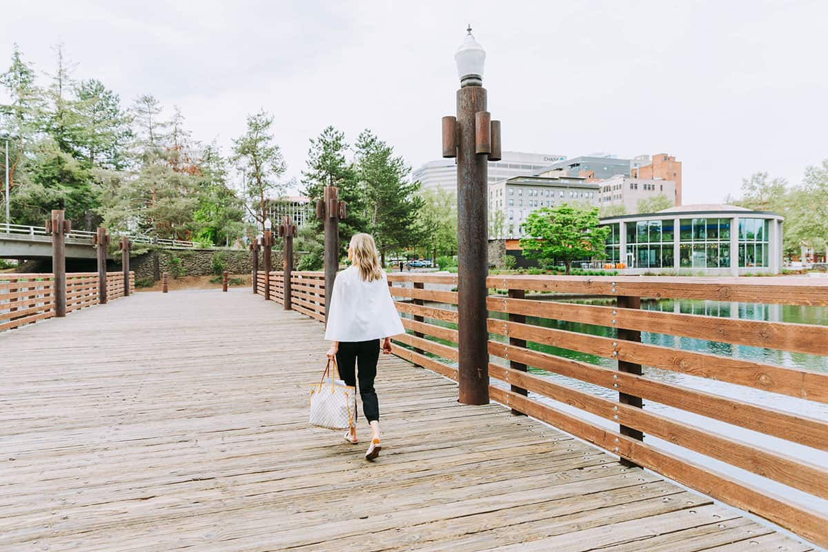 Women walking across bridge | Davenport Grand