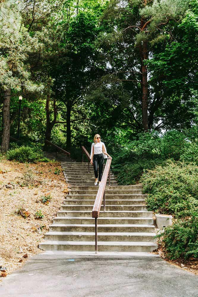 Women walking down stairs in park | Davenport Centennial