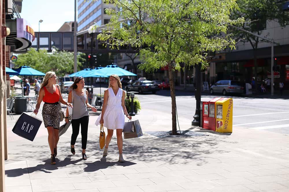 Three women shopping